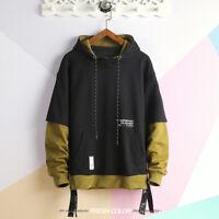 Men's Patchwork Streetwear Hoodie Pullover Hip Hop Long Sleeves Sweatshirt