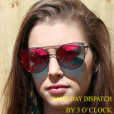 Luxury Oversized Celebrity RED Mirrored Cat Eye Designer Sunglasses Vintage UK
