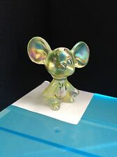 FENTON ART GLASS LIME GREEN IRIDESCENT MOUSE w/ floral pattern-hand painter sign