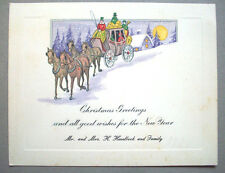 Horse drawn Coach early CHRISTMAS VINTAGE GREETING CARD *s
