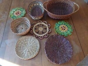 Set Of 8 Wicker Baskets Boho Rattan Basket Wall Decor woven