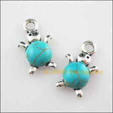 5Pcs Retro Tibetan Silver Animal Tortoise Turquoise Charms Pendants 14x23mm