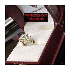 14K YELLOW-GOLD PRINCESS W/TRILLIONS CUBIC-ZIRCONIAS PROMISE/ENGAGEMENT RING