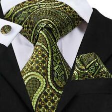 USA Green Paisley Mens Tie Necktie Silk Jacquard Woven Set Wedding Chirstmas