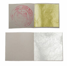 10 Real Pure Gold Leaf + 10 Pure Silver Leaves 24 Ct 99.9% Edible Food Grade