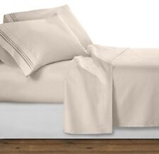Clara Clark 1800 Premier Series 4pc Bed Sheet Set - King, Beige Cream
