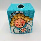 Angel Tissue Box Cover Topper Handmade Yarn Stich  Plastic Canvas