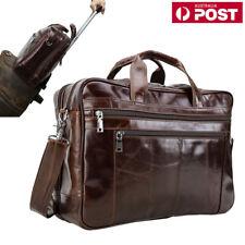 """Luxury Real Leather 17.3"""" Laptop Briefcase Men's Messenger Shoulder Bag Handbag"""