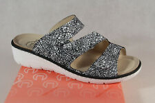 Turm Ladies Mules Slippers Sandals Real Leather Black/White New