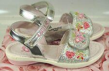 Girls Lelli Kelly Silver Alexandra LK4472 Glitter Sandals US 7 /UK 24 Retail $69
