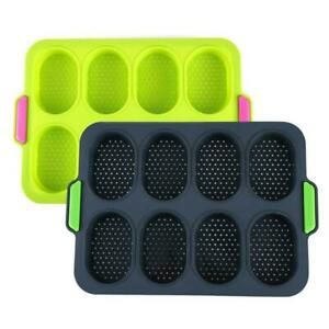 8Holes Silicone Toast Bread Cake Baking Pan Mold Loaf Tin Bakeware Mould UK