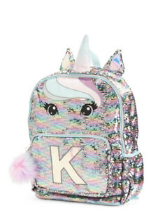 Justice UNICORN Initial K Pastel Flip Sequin Backpack New with Tags