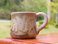 """Dipped Hand Spun Pottery Coffee Mug Signed by Artist 2 3/4"""" Tall"""