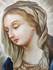 Fixé sous verre Sainte Vierge Marie Peinture XIX ème