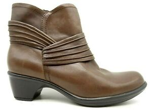 Clarks Bendables Brown Leather Zip Up Block Heel Ankle Boots Shoes Women's 6 M