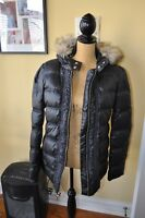 NWT$278.00~JUICY COUTURE~BLACK~Full Zip Hoodie Pockets PUFFER Jacket Size L~CUTE