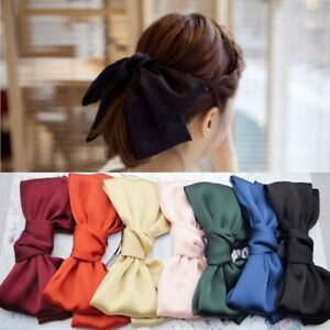 Women Satin Ribbon Big Bow Hair Clip Barrette Ponytail Headwear Holder Head Rope