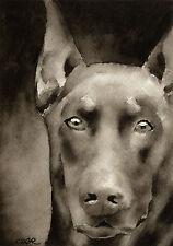 Red Doberman Pinscher Art Print Sepia Watercolor Painting 11 x 14 by Artist Djr