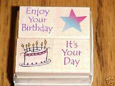 ENJOY BIRTHDAY Rubber Stamps LL863 Hero Arts Quatros Set of 4 cake star
