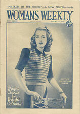 Vintage Woman's Weekly Magazine October 20 1945 Knitting Short Stories Recipes