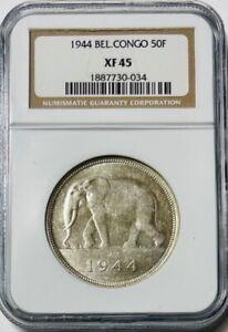 BELGIAN CONGO - African Elephant - Silver 50 Francs - 1944 - NGC XF45