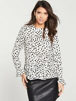 V by Very Women Ruffle Peplum Blouse -Animal Print MXQWL Size UK 16 VR166 023