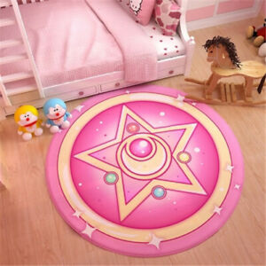 Sailor Moon Sakura Pink Magic Door Living Room Circule Carpet Rug Ground Mat