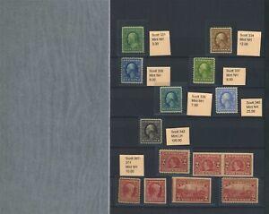 US Washington Franklins collection 1908-1919 Mint mostly NH Cat $21k