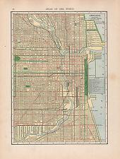 1909 MAP ~ CHICAGO CITY PLAN RAILROADS STREETS PUBLIC BUILDINGS STATIONS