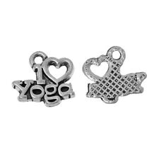 10 Yoga Charms I Love Yoga Charms Antiqued Silver Zen Charms