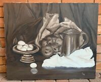 Vintage 70s Still Life Oil Painting Wall Hanging Mid Century Modern Art Signed