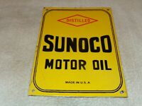 "VINTAGE SUNOCO DISTILLED MOTOR OIL 12"" PORCELAIN METAL GASOLINE PUMP PLATE SIGN"