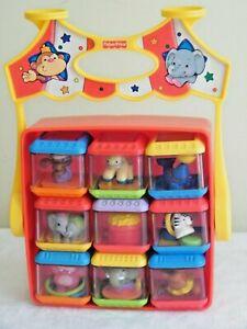 9 Fisher Price Peek A Boo Blocks Stacking Sensory Toys ~ Circus Holder Lot 7