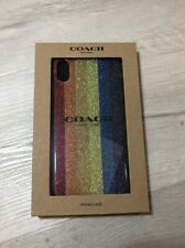 Coach IPHONE X or XS Glitter Stipes Plastic Multicolor Case