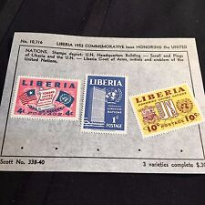 1952 Liberia Postage Stamps Lot of 3 on Old Scott Info Sheet #338-40