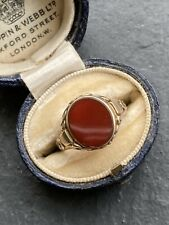 Antique Yellow Gold Engraved Carnelian Signet Ring Band