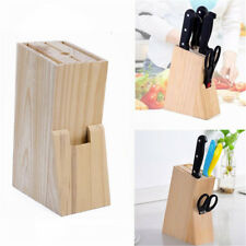 Wood Knife Holder Block Scissor Slot Storage Rack Wooden Kitchen Organizer Tool