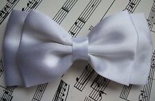 "NEW HANDMADE WHITE SATIN 4"" DOUBLE BOW HAIR CLIP VINTAGE STYLE BRIDAL GLAMOUR"