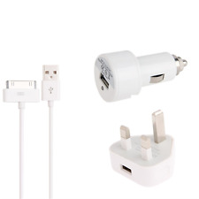 3 in 1 Charge and Sync Cable UK Mains Plug Car Charger iPhone 4 4S iPad 1 2
