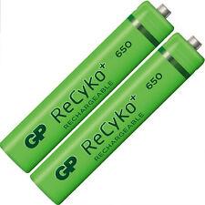2 x GP AAA 650 mAH Rechargeable Batteries FREEPOST UK