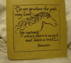 Stone Sign Plaque Horse Decor w/Inspirational Quote For Cabin Country Farm    19