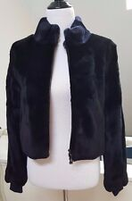 New Belle Fare Full Skin Two Tone Rex Rabbit Fur Bolero, Black Navy Small