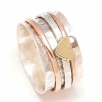 925 Sterling Silver Wide Band Meditation Ring Statement Ring Spinner Ring rr1249