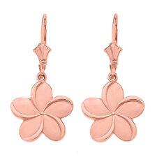 14K Rose Gold Hawaiian Plumeria Flower Drop / Dangle Leverback Earrings