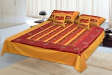 5 PC Furnishing Indian Silk Bed Cover Traditional Bedding Set