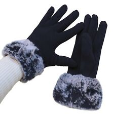 Gloves Woman Cuff Hair Blue Ladies Teddy Plush Lined Winter Quality