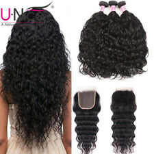 UNice Hair 3 Bundles Water Wave Malaysian Human Hair Extensions With Closure US