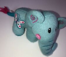 New DanDee Dan Dee Aqua Blue Knit Plush Elephant Lovey Sock NWT Butterfly #B3