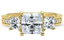 New Berricle Goldplated Princess Cz 3-Stone Ring 3.12 Ctw Anniversary