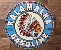"Vintage Kalamalka Gas Heavy Porcelain Sign 12"" Gas & Oil Sign"